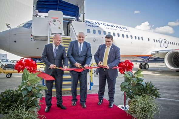 Aeroflot's 1st 737 Delivery Ribbon Cutting Ceremony